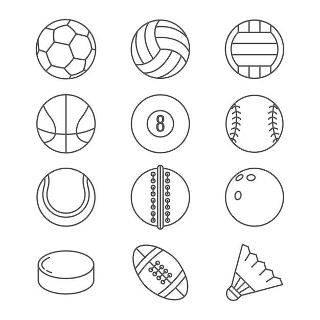 Ballons de sport vectorielles icônes de fine ligne. Vecteur Premium