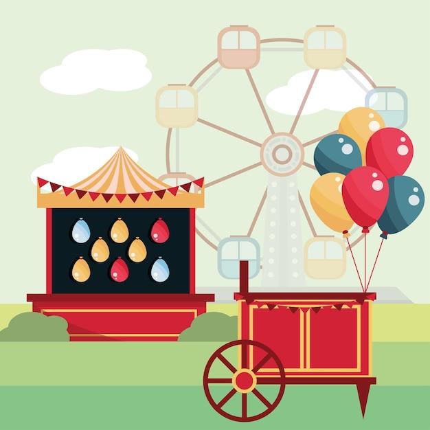 Ballons De Stand De Tir De Carnaval De Parc D'attractions Et Illustration De Grande Roue Vecteur Premium