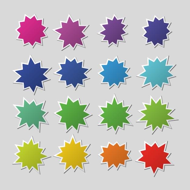 Ballons Starburst En Papier Coloré Blanc, Formes D'explosion. Boom Vente Autocollants Vector Ensemble Isolé Vecteur Premium