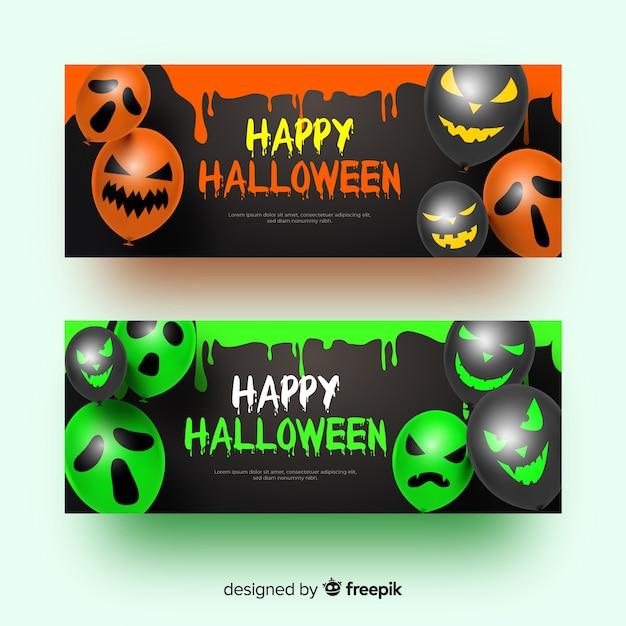 Ballons avec des visages des bannières d'halloween réalistes Vecteur gratuit