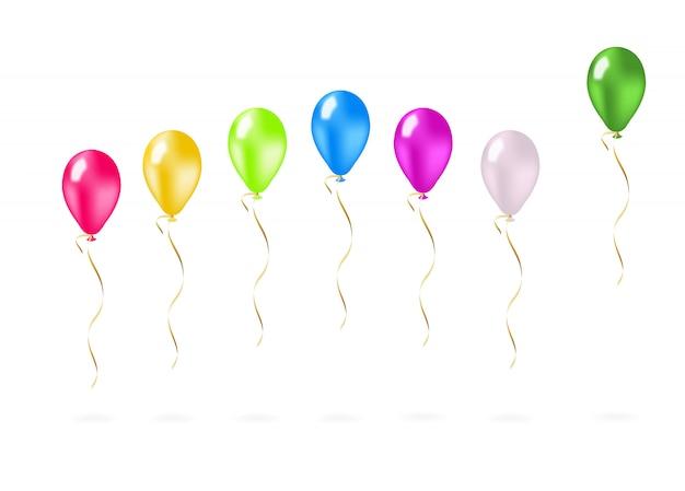 Ballons volants colorés dans une rangée Vecteur gratuit