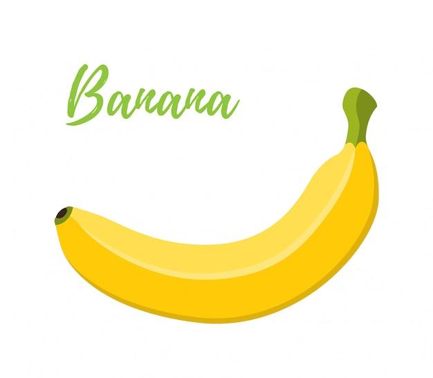 Banane, fruit jaune tropical. style plat de dessin animé Vecteur Premium