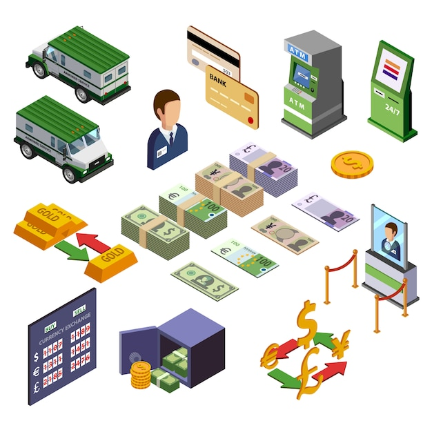 Bancaire Isométrique Icons Set Vecteur gratuit