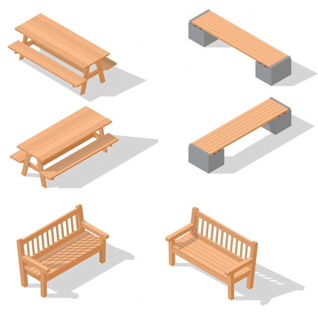 Bancs En Bois Et Une Table Vecteur Premium