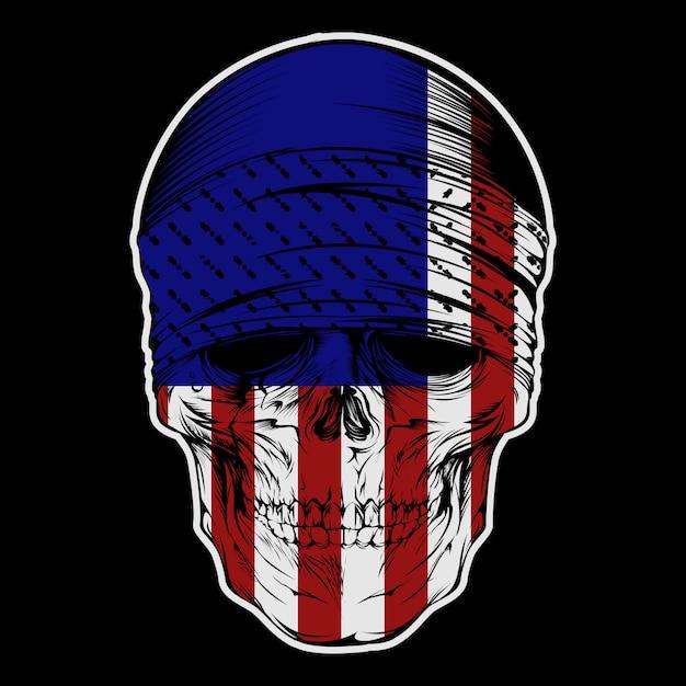 Bandana crâne avec dessin à la main du drapeau usa Vecteur Premium