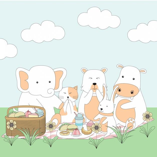 Bande dessinée d'animaux mignons dessinés à la main Vecteur Premium