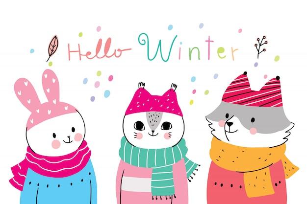 Bande dessinée animaux mignons d'hiver, lapin et chat et renard Vecteur Premium