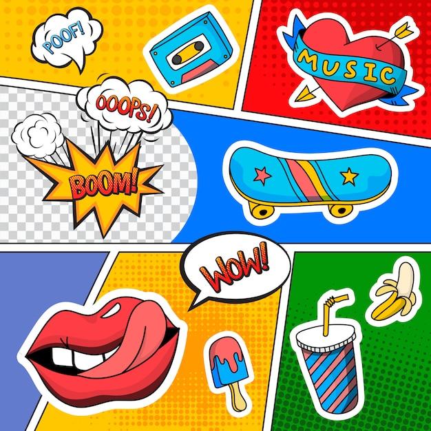 Bande dessinée émotions effets sonores Vecteur gratuit