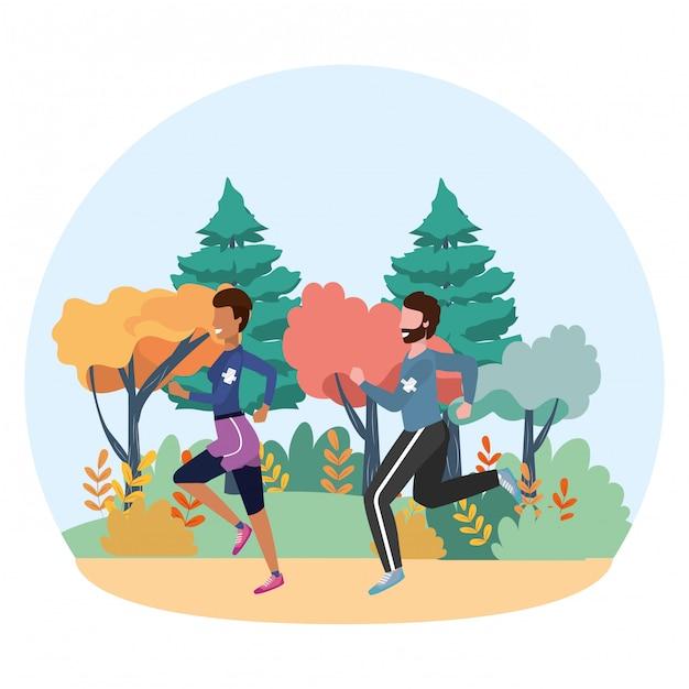 Bande dessinée fitness train de sport Vecteur Premium