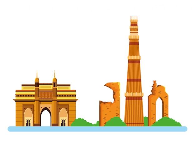 Bande dessinée icône de bâtiments indiens Vecteur Premium