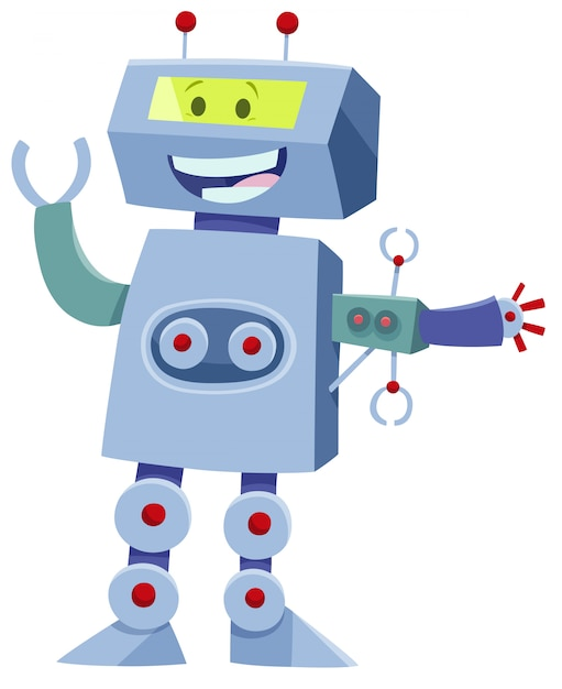 Bande dessinée illustration du personnage de robot fantasy Vecteur Premium