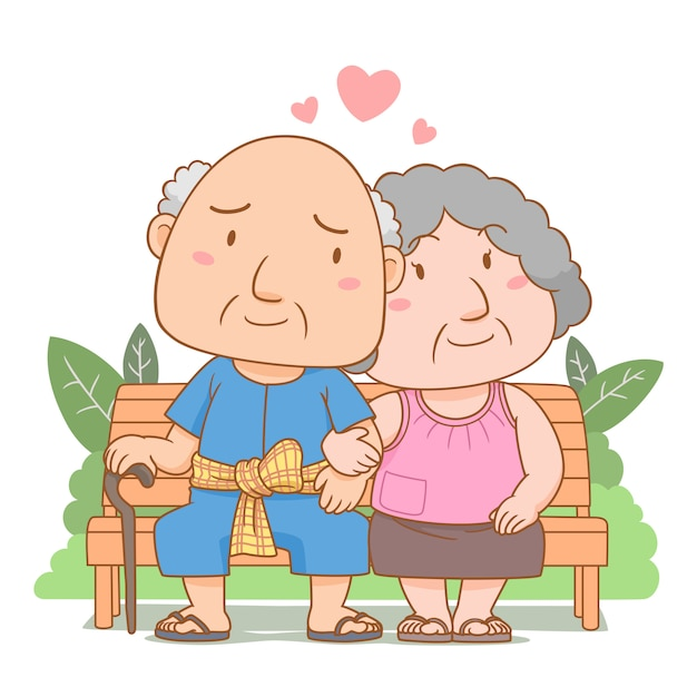 Bande Dessinée Illustration De Grands-parents Amoureux Assis Sur Un Banc De Jardin. Journée Nationale Des Grands-parents. Vecteur Premium