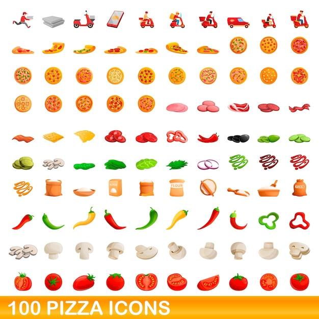 Bande Dessinée Illustration De Jeu D'icônes De Pizza Isolé Sur Blanc Vecteur Premium