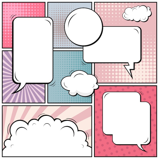 Bande dessinée pop art avec des espaces sur blanc Vecteur Premium