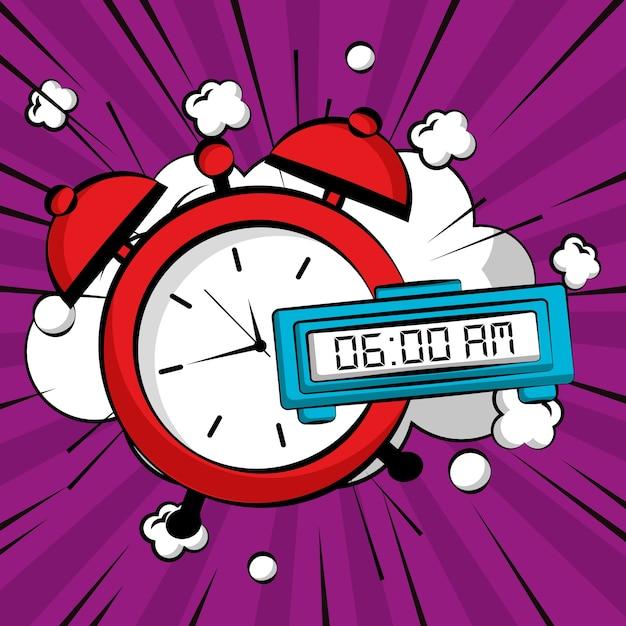 Bande dessinée pop art page livre paix et l'amour horloge boom Vecteur Premium