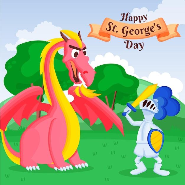 Bande Dessinée St. Illustration Du Jour De George Avec Dragon Et Chevalier Vecteur gratuit