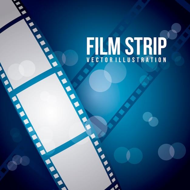 Bande de film sur illustration vectorielle fond bleu Vecteur Premium