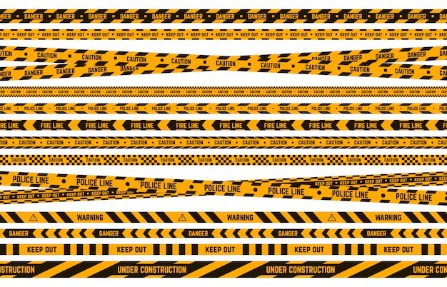 Bande De Police De Danger. Attention Ruban Jaune Et Noir, Ligne Rayée De Périmètre Criminel, Ensemble D'illustration De Bordures D'avertissement D'attention. Bande De Sécurité, Zone Frontalière Criminelle, Ruban Interdit Vecteur Premium
