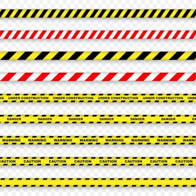 Bande de prudence et de danger sur fond transparent. Vecteur Premium