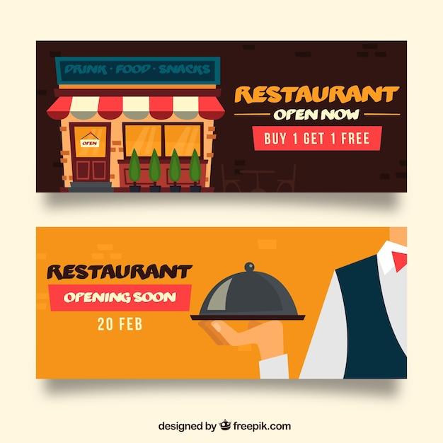 Banderole de restaurant avec un design plat Vecteur gratuit