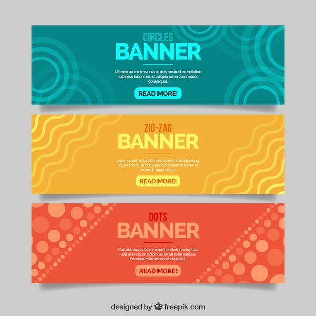 Banderoles Colorées Avec Des Formes Abstraites Vecteur gratuit