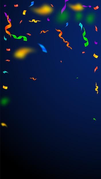Banderoles Et Confettis. Banderoles Colorées Guirlandes Et Rubans En Aluminium. Confettis Tombant La Pluie Sur Fond Bleu Foncé. Vecteur Premium