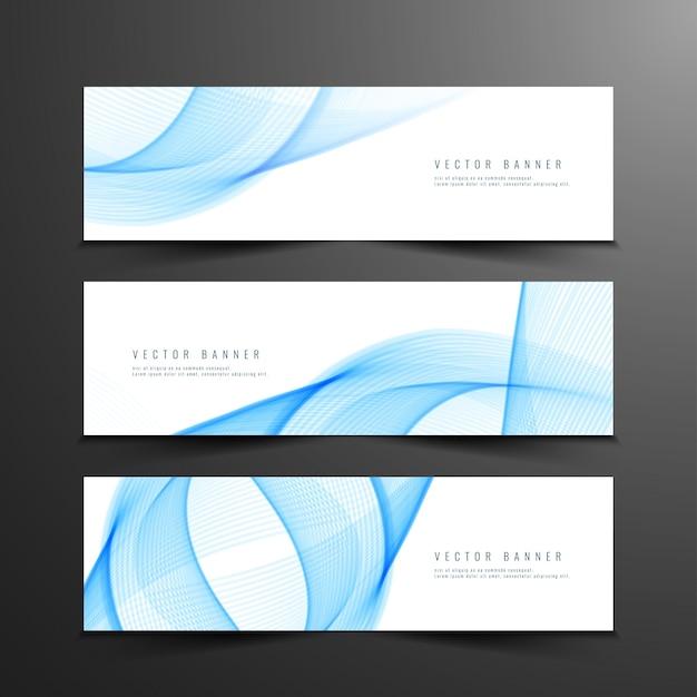 Banderoles Ondulées Bleues Abstraites Et élégantes Vecteur Premium