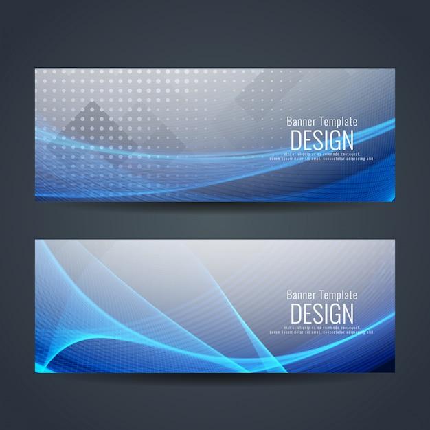 Banderoles Ondulées Bleues Abstraites Vecteur Premium