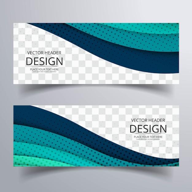 Banderoles Ondulées Bleues Vecteur gratuit