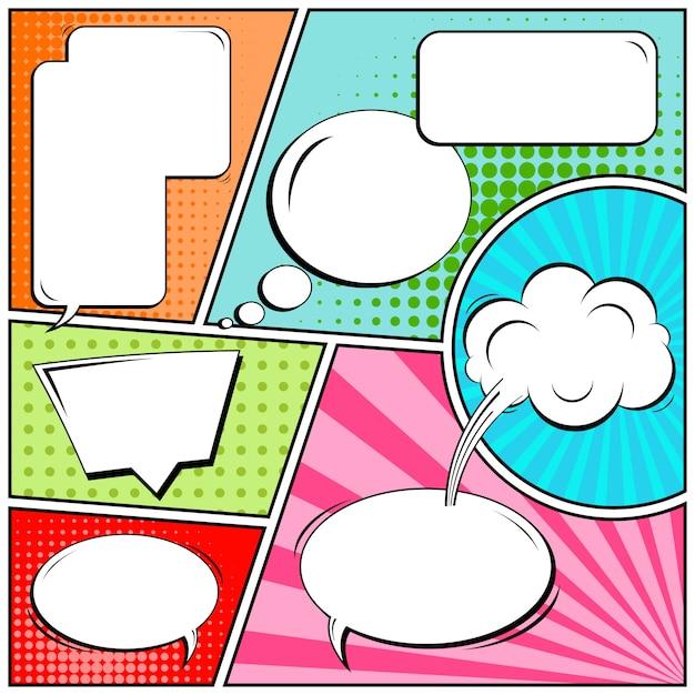 Bandes dessinées ou vignettes de style pop art avec des bulles vierges Vecteur Premium