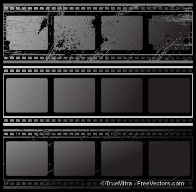 Bandes de film noir grunge Vecteur gratuit