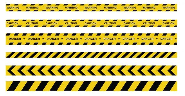 Bandes De Prudence Et De Danger. Ruban D'avertissement. Ligne Noire Et Jaune Rayée. Vecteur Premium