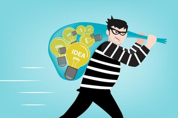 Le bandit a volé vos idées de créativité Vecteur Premium