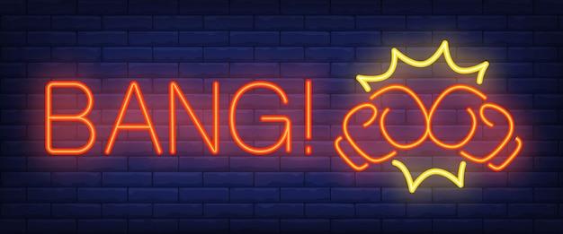 Bang texte néon avec des gants de boxe Vecteur gratuit