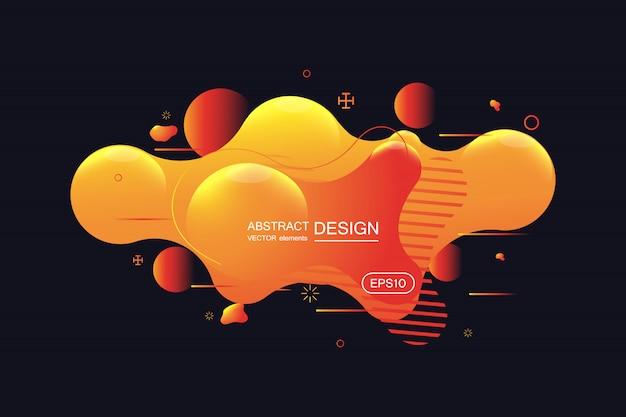 Bannière abstraite dégradé avec des formes liquides qui coule Vecteur Premium