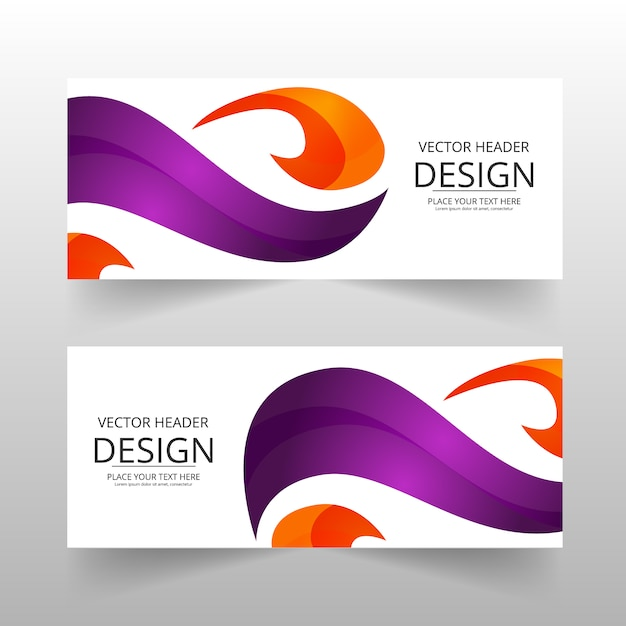 Bannière Abstraite Orange Et Violette Vecteur gratuit