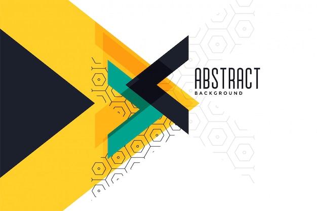 Bannière abstraite de triangle jaune thème élégant Vecteur gratuit
