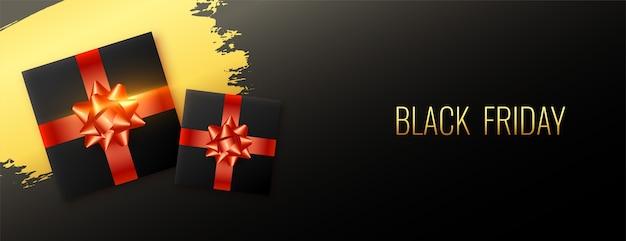Bannière Abstraite De Vente Vendredi Noir élégant Avec Boîte-cadeau Vecteur gratuit