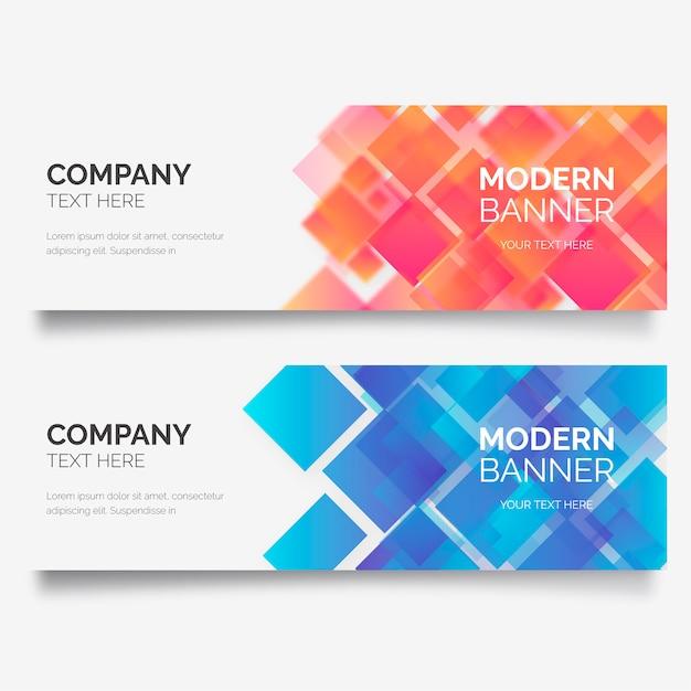 Bannière d'affaires moderne avec des formes géométriques Vecteur gratuit