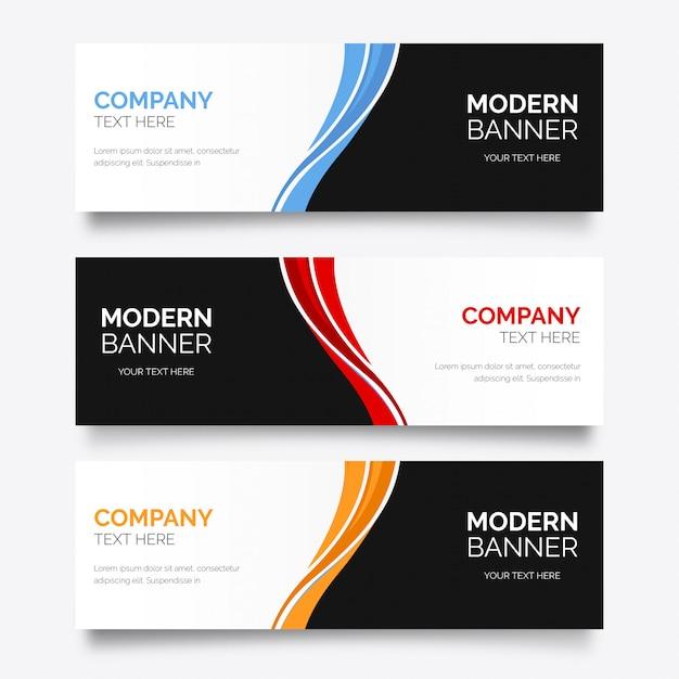 Bannière d'affaires moderne avec des vagues Vecteur gratuit