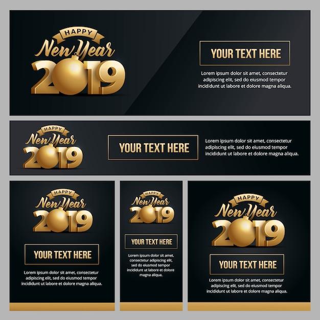 Bannière, affiche et gabarit fixés pour le nouvel an 2019 Vecteur Premium