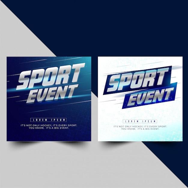 Bannière ou affiche pour deux options sportives Vecteur Premium