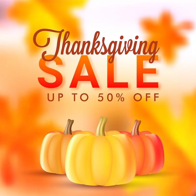 Bannière ou affiche de vente de thanksgiving. Vecteur Premium