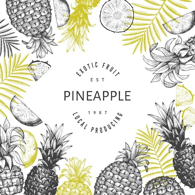 Bannière D'ananas De Style Croquis Dessinés à La Main. Illustration De Fruits Frais Biologiques. Modèle Botanique De Style Gravé. Vecteur Premium
