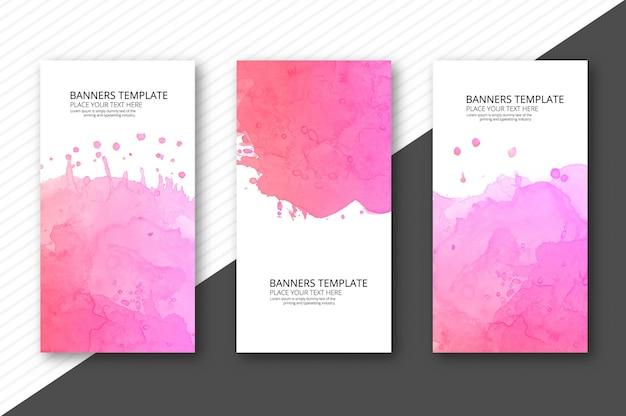 Bannière aquarelle colorée abstraite sur fond Vecteur Premium