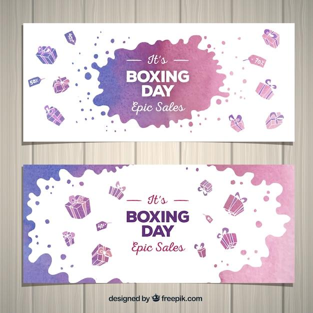 Bannière aquarelle de vente de jour de boxe Vecteur gratuit