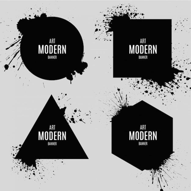 Bannière d'art moderne avec splash d'explosion Vecteur gratuit