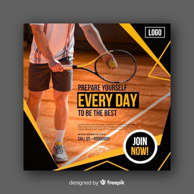 Bannière d'athlète de tennis avec photo Vecteur gratuit