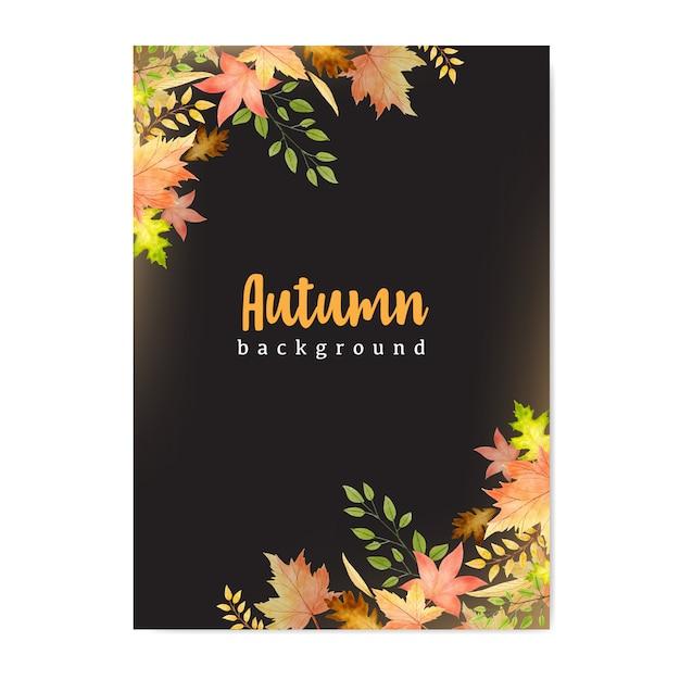 Bannière d'automne avec fond de feuilles d'automne coloré Vecteur Premium