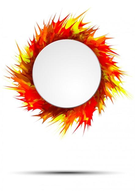 Bannière d'automne lumineux et coloré avec cadre rond sur les éclaboussures de peinture vive Vecteur Premium